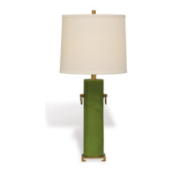Port 68 - Beverly Lamp, Apple Green - Brighten your space with the Beverly Lamp in apple green. Featuring solid brass accents, a porcelain cylinder base and white drum-shaped shade, this lamp makes a vibrant and sleek focal piece on an entryway or side table. 150 watt maximum, 3-way switch.  UL Listed.