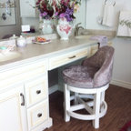 Lois Robbins Bathroom renovation - A gorgeous custom made swivel makeup vanity stool/chair . Finished in Benjamin Moore CSP Stoneware and upholstered in Maxwell Fabrics Papparazi Crystal #17 a rich classic velvet.