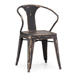 ZUO ERA - Helix Chair Antique Black Gold (set of 2) - This chair is made of a solid steel frame in a rustic antiquate black with gold accents finish.