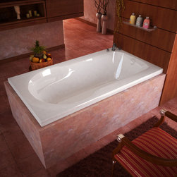 Venzi - Venzi Elda 32 x 60 Rectangular Soaking Bathtub - The Elda series features the contemporary style of a rectangular bathtub with a round cockpit, molded arm and back rests.