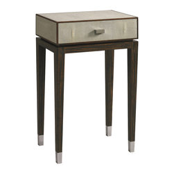 Lillian August - Lillian August Michael Shagreen Side Table LA96324-01 - A wonderful combination of beautifully finished walnut in a deep brown tone and a shagreen box with a nickel drawer pull and nickel feet capping the stylish slender tapered legs.
