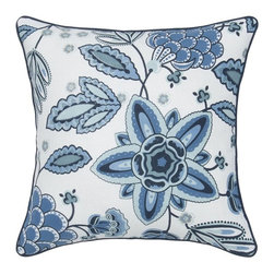 Rizzy Home - Rizzy Home Beautiful Blue Corded Decorative Throw Pillow - T05486 - Shop for Pillowcases and Shams from Hayneedle.com! Change the entire look of your room by adding the Rizzy Home Beautiful Blue Corded Decorative Throw Pillow to your space. Plush and stylish this accent pillow has a 100% cotton slub fabric cover with cording detail. Its large scale flower comes in crisp blues and white. This decorative pillow includes a removable polyester insert and hidden zipper. Machine or hand wash cover in cold water and lay flat to dry.About Rizzy HomeRizwan Ansari and his brother Shamsu come from a family of rug artisans in India. Their design color and production skills have been passed from generation to generation. Known for meticulously crafted handmade wool rugs and quality textiles the Ansari family has built a flourishing home-fashion business from state-of-the-art facilities in India. In 2007 they established a rug-and-textiles distribution center in Calhoun Georgia. With more than 100 000 square feet of warehouse space the U.S. facility allows the company to further build on its reputation for excellence artistry and innovation. Their products include a wide selection of handmade and machine-made rugs as well as designer bed linens duvet sets quilts decorative pillows table linens and more. The family business prides itself on outstanding customer service a variety of price points and an array of designs and weaving techniques.
