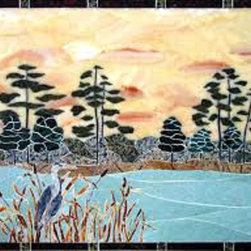 "Handcrafted Marble Mural Lake With Heron 37"" X 27"" Backsplash - Made to order. Lead time 2-4 weeks. Proudly made in USA."