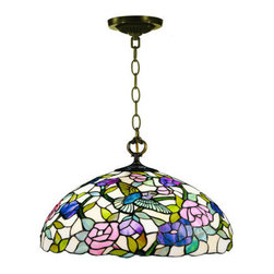 Dale Tiffany - Dale Tiffany 7655/1LTA Hummingbird Hanging Fixture with 1 Light - Dale Tiffany 7655/1LTA Hummingbird Hanging Fixture with 1 LightThis upside down bowl pendant is adorned with a glass mosaic of birds and flowers. This lamp is going to draw complements with its uniqueness, beauty, and elegance.Dale Tiffany 7655/1LTA Features:
