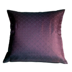 Pillow Decor - Pillow Decor - Geometric Floral Purple 20x20 Throw Pillow - This beautiful throw pillow has a stylized flower design in a fantastic shade of purple. This eye catching pillow has a slight sheen that gives it a vibrant and crisp elegance. It can be mixed with solids and textures and looks dramatic with rich pinks and grays. Stylish and versatile, this decorative pillow will work almost anywhere you want to add a splash of purple.