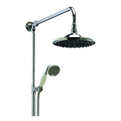 Hudson Reed - New Chrome Traditional Grand Rigid Riser Complete with Fixed Round Overhead Show - Step into a luxurious experience the next time you shower with this elegant, fixed shower head and handheld device. The fixed head delivers a soothing rainfall and the handheld lets you rinse your hair with ease. The chrome finish and silicone nozzles ensure easy cleaning.