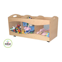 Kids Storage Unit With See Thru Bins in Natural Color