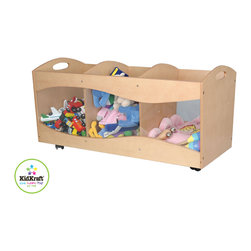 Kid Kraft - Kids Storage Unit With See Thru Bins in Natural Color - This storage unit with see thru bins make your storage simple and effective. it is best storage unit with enough space for holding all the materials. it has Casters on the base for ease of mobility and its See-thru side panels gives it dashing look. It has Three separate compartments to keep all your kids toys in a well organized manner. It has Hand cut-outs on the sides. It is also available in many natural colors.