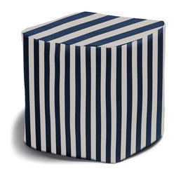 Jaxx Bean Bags - Luckie Outdoor Bean Bag Ottoman, Navy Stripes - Bring summer-worthy style to your veranda with the Luckie Pouf. A perfect perch for resting feet or handy side table, this delightful outdoor essential anchors your outdoor style. Lightweight and versatile, the Luckie Pouf caters to a variety of needs allowing you care-free poolside lounging or adding extra seating space. With fully functional design that does not go out of fashion, the Luckie Pouf compliments virtually every decor and brightens any terrace, porch, garden or balcony.