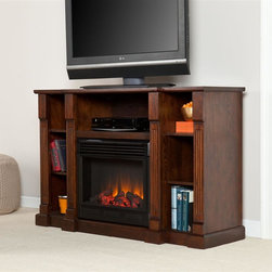 Southern Enterprises - Murdock Media Electric Fireplace - Espresso - Includes 2 adjustable shelves and 5 fixed shelves. Espresso finish. Features 3 cord management openings, one per top shelf. Max weight capacity: 75lbs (mantel), 20lbs (each shelf). Accommodates up to a 50 in. flat panel TV. Constructed of MDF, PB, and ash veneer. Firebox front: 23 in. W x 20 in. H. Features realistic flickering flames and burning embers using long life LED lights. Remote control operated (1 CR2025 battery included). Easy to use controls for adjustable thermostat, with timer. Adjust flame and ember brightness separately for the perfect fire. Plugs into standard wall outlet with 6 ft. cord. Tested to heat 1500 cubic feet in only 24 minutes (14 ft. x 14 ft. x 8 ft.). 120V-60Hz, 1500W / 5000 BTUs, 12.5 Amps. Safety thermal overload protector. No combustion, glass remains cool to the touch. 100% energy efficient and uses about as much energy as a coffee maker, offering low operating costs. Eco friendly, consumes no wood or fossil fuels and produces zero emissions or pollutants. Assembly required. 52 in. W x18 in. D x 34.5 in. H. Top center shelf: 27.5 in. W x 16 in. D x 9 in. H (23.5 in. W opening). Top side shelves: 10 in. W x 14 in. D x 9 in. H (8 in. W opening). Lower side shelves: 10 in. W x 14 in. D x 8