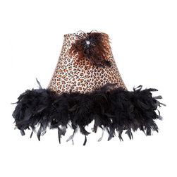 "Brandi Renee Designs - All Lit Up Sassy Cheetah Lampshade - Hello, gorgeous! Our All Lit Up Sassy Cheetah lampshade makes a big, bold statement. We've combined two of our favorite things - cheetah print and a black feather boa - and finished it off with a feather and ""diamond"" centerpiece. Like every BRDesign lampshade, our All Lit Up Sassy Cheetah lampshade is handcrafted from the finest quality materials."