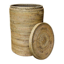 Brilliant Imports - Rattan Laundry Basket with Top - Functional and fabulous-- the perfect hand-woven rattan basket for stashing laundry, toys or anything else you want to keep tidy and out of sight.