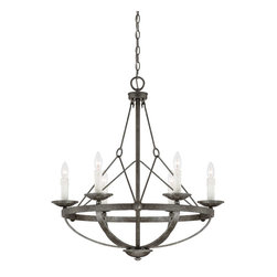 Savoy House - Savoy House 1-6000-6-285 Epoque 6 Light Chandleier - From The Epoque collection, This six-light chandelier is industrial chic with wire suspension cables and a Textured Antique Nickel finish.