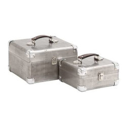 BZBZ50249 - Sleek and Attractive Wooden Case Set of Two with Leather Handles - Sleek and attractive wooden case set of two with leather handles. Some assembly may be required.