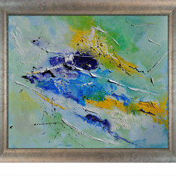 """overstockArt.com - Ledent - Abstract with Silver Scoop with Swirl Lip - Silver Frame Oil Painting - Canvas print of a colorful abstract painting originally painted with oil on canvas. Pol Ledent was born in 1952 in Belgium. He came to painting in 1989. He started with watercolor but felt rapidly that oil painting would match his way of being. He is a self-taught painter. Nevertheless he took some drawing lessons in a Belgian academy. After taking part into numerous group exhibitions, some galleries in Belgium proposed to him to exhibit his works. Dinant, Bouillon, Brussels , Paris and Moscow in October 2006. Frame Description: Silver Scoop with Swirl Lip - Silver Frame with Champagne Highlights Framed painting size (not including frame): Classic 20"""" x 24"""" Abstract. Framed Oil reproduction of an original painting by Pol Ledent"""