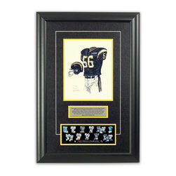 """Heritage Sports Art - Original art of the NFL 1992 San Diego Chargers uniform - This beautifully framed piece features an original piece of watercolor artwork glass-framed in an attractive two inch wide black resin frame with a double mat. The outer dimensions of the framed piece are approximately 17"""" wide x 24.5"""" high, although the exact size will vary according to the size of the original piece of art. At the core of the framed piece is the actual piece of original artwork as painted by the artist on textured 100% rag, water-marked watercolor paper. In many cases the original artwork has handwritten notes in pencil from the artist. Simply put, this is beautiful, one-of-a-kind artwork. The outer mat is a rich textured black acid-free mat with a decorative inset white v-groove, while the inner mat is a complimentary colored acid-free mat reflecting one of the team's primary colors. The image of this framed piece shows the mat color that we use (Yellow). Beneath the artwork is a silver plate with black text describing the original artwork. The text for this piece will read: This original, one-of-a-kind watercolor painting of the 1992 San Diego Chargers uniform is the original artwork that was used in the creation of this San Diego Chargers uniform evolution print and tens of thousands of other San Diego Chargers products that have been sold across North America. This original piece of art was painted by artist Nola McConnan for Maple Leaf Productions Ltd. Beneath the silver plate is a 3"""" x 9"""" reproduction of a well known, best-selling print that celebrates the history of the team. The print beautifully illustrates the chronological evolution of the team's uniform and shows you how the original art was used in the creation of this print. If you look closely, you will see that the print features the actual artwork being offered for sale. The piece is framed with an extremely high quality framing glass. We have used this glass style for many years with excellent results"""