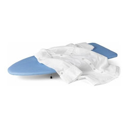 Table Top Ironing Board - Honey-Can-Do BRD-01293 Compact Tabletop Ironing Board, Blue/White. Take the wrinkles out of your day with an ironing board perfectly suited to help you smooth things out. This compact tabletop ironing board is perfect for occasional ironing and is an incredible value. The legs fold flat for quick and easy storage under a bed, office desk, or in a closet. This unit comes complete with pad and cover.