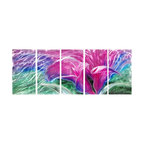 Pure Art - Beautiful Stranger Metal Wall Art Set of 5 - Colorful sections of lines and curves form a beautiful floral stranger against a softer green backdrop. Lines and curves ripple and wave to give an abstract feel to this work of art. This five panel metal wall hanging group will bring added contemporary and modern style to any area of your home or office. Panels have been sealed with a clear coat finish for protectionMade with top grade aluminum material and handcrafted with the use of special colors, it is a very appealing piece that sticks out with its genuine glow. Easy to hang and clean.