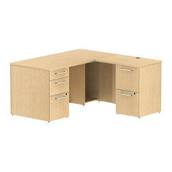 "Bush - Bush 300 Series 60"" L-Shape 2-Pedestal Desk Set in Natural Maple - Bush - Commercial Grade Office - 300S027AC - Transitional, classic styling fits ideally in any residential, commercial or office environment with the Bush Natural Maple 300 Series 60""W X 30""D Single Pedestal L-Desk (B/B/F) with 30""W Return (F/F). Smaller top surface and return fits in tight workspaces. Two box drawers and one file drawer in the pedestal store files or office supplies. The 30"" Return features two file drawers on fully extendable drawer slides for easy access to back. All file drawers accommodate letter- legal or A4-size files. Wire grommets control unsightly cords and cables, keeping desk and return surfaces clutter-free. Return complements the desk and offers additional storage at your fingertips. Rich, Mocha Cherry finish fits beautifully in executive spaces. Tough, rugged work surfaces resist scratching, stains, dings and dents, looking good for years. Includes BBF Limited Lifetime warranty."