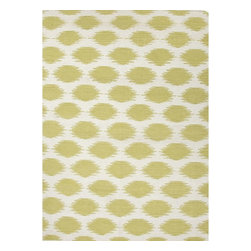 Jaipur Rugs - Jaipur Rugs Flat-Weave Tribal Pattern Wool Ivory/Green Area Rug, 8 x 10ft - An array of simple flat weave designs in 100% wool - from simple modern geometrics to stripes and Ikats. Colors look modern and fresh and very contemporary.