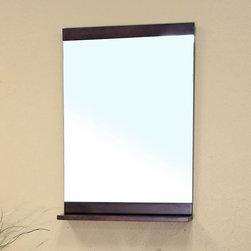 Bellaterra Home - Vollie Medium Walnut Bathroom Vanity Mirror - Materials: Solid wood (birch) frame/mirrorFinish: Medium walnutSolid wood frame