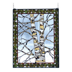 Meyda - 28 Inch W X 36 Inch H Birch Tree In Winter Window Windows - Color Theme: Vasdy Ca Beige Amber Kalt