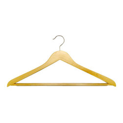 Proman - Genesis Flat Big And Tall Hangers, Natural - Genesis flat big and tall hangers with anti slip PVC tube bar. Natural Color with Chrome hardware. 50pcs/case. Flat big and tall hangers. W / anti slip PVC tube bar Chrome hardware.