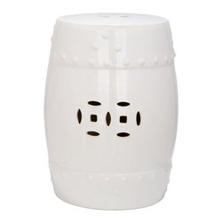 Safavieh - Hvar Garden Stool - The classic Ming Dynasty barrel shape and pierced design  is updated with crisp cream glaze on expertly crafted ceramic.  Perfect as a garden perch, side table or plant stand indoors or out, this timeless design complements every decorating style from traditional to contemporary.