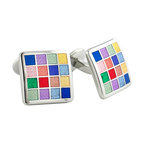 Frontgate - Multi Colored Checkerboard Cufflinks - Appropriate for casual and formal outings. Fixed backing. Great for gift giving. Our Multi-Colored Checkerboard Cufflinks impress with enamel squares set in .925 sterling silver. Each color piece is exquisitely finished with its own textured square pattern.  .  .  . Made in the USA.