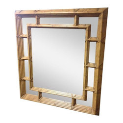 """Pre-owned Kreiss Shangri-la Rattan Mirror - The Kreiss Shangri-La mirror, with a natural rattan frame. This mirror is large and solid, measuring 50""""W x 55""""H. Use it in a Chinoiserie, Nautical or Contemporary style dining room or powder bathroom. It's in brand new condition and has never been used."""
