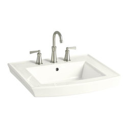 "KOHLER - KOHLER K-2358-8-0 Archer Pedestal Bathroom Sink with 8"" Widespread Faucet H - KOHLER K-2358-8-0 Archer Pedestal Bathroom Sink with 8"" Widespread Faucet Holes in White"