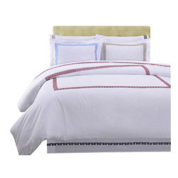 Bedding Web Store - 200TC Kendell Sheet Set-Cotton - Use this Kendell sheet set to give your bedroom a beautiful rich look.  This sheet set is made with 200 Thread Count 100% cotton making is both durable and fashionable.  This set has a white background and Greek style embroidered border design.  This set will enhance the look of any bedroom design you may have.  Each set includes a flat sheet, fitted sheet, and matching pillowcases (Twin XL set has one pillowcase).  This set is available in five colors: Burgundy, Black, Grey, Light Blue and Taupe. The sizes available are Twin XL, Full, Queen, King, and California King