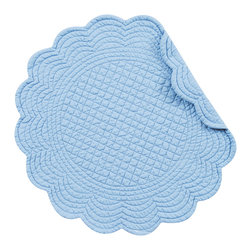 C F Enterprises - Sky Blue Round Placemat - This cotton placemat is solid sky blue with a unique stitchpattern of diamonds and scrolls. 17 Inches round with a scalloped egde reversing to the same pattern.  Washable, dry flat or cool.