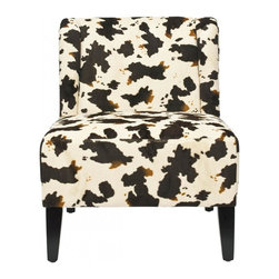 Safavieh - Inglewood Chair - Low-slung and with a tailored profile, the Inglewood slipper chair sits atop sturdy black finished round legs. Wrapped in a bold contemporary cowhide print upholstery fabric, Inglewood features a slight barrel back and a go-anywhere style.