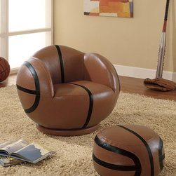 Small Kids Basketball Chair and Ottoman - Featuring shapely rounded arms, attached back and comfortable cushioned seat, the basketball chair and ottoman set for small kids will be a chic element for your child's room.