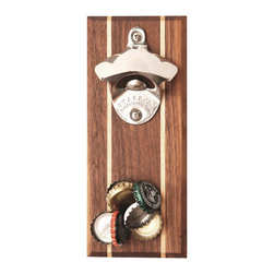 Wood Thumb - Walnut Wood Magnetic Bottle Opener - Never chip a tooth again while trying to pop the top off a cold brew. Use this rustic beer bottle opener, made from Walnut with Maple inlay, to compliment any decor. The durable stainless steel wall mounted beer cap lifter makes opening your favorite brew a breeze. So forget about ever having to hunt down a bottle opener again! An essential home bar accessory for those hard-to-open domestics or no-twist imports, this Stoudt bottle opener has a built in magnet that catches over 30 bottle caps at a time!                             * Stainless Steel Bottle Opener * Black Walnut with Maple Hardwood * Super Powerful Magnets * Hardware included