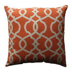 Pillow Perfect - Lattice Damask Coral, Beige Pillow - - Pillow Perfect Lattice Damask Tangerine 18-inch Throw Pillow  - Sewn Seam Closure  - Spot Clean Only  - Finish/Color: Coral/Beige  - Product Width: 18  - Product Depth: 18  - Product Height: 5  - Product Weight: 1.5  - Material Textile: 100% Cotton  - Material Fill: 100% Recycled Virgin Polyester Fill Pillow Perfect - 512785