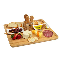 Picnic at Ascot - Sherborne Bamboo Cheese Board Set with Cheese Tools - Use this elegant Sherborne cheese board when entertaining guests. The bamboo construction combines a light weight with a classic look,and the magnetic block at the center keeps everything organized.