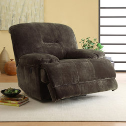None - Felicity Dark Brown Microfiber Reclining Chair - The Felicity Collection chair features a dark brown,textured,plush microfiber upholstery. Sure to please the gadget lover in any household,with the touch of a button you automatically recline in this comfortable seating offering.
