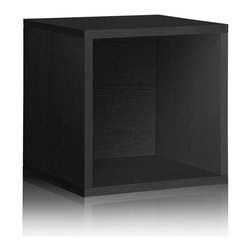 Way Basics - Way Basics Record Album Storage, Black - Sometimes, bigger is better — especially if you've got vinyl LPs, full-size photo albums and coffee table books to store. With easy peel-and-stick construction, you'll put together a formaldehyde- and VOC-free super cube in no time. And your stuff? Stowed!