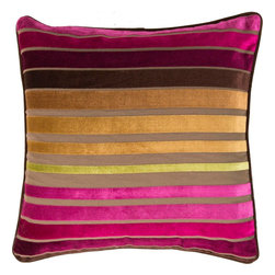 "Surya - Surya JS-020 Sparkling Stripe Pillow, 22"" x 22"", Down Feather Filler - If bold and bright are two words you're looking to define your space, this is the pillow for you. Featuring bold, beautiful stripes colored by bright purple, yellow, and pinks, you will turn heads in any room with this striking piece. This pillow contains a zipper closure and provides a reliable and affordable solution to updating your home's decor. Genuinely faultless in aspects of construction and style, this piece embodies impeccable artistry while maintaining principles of affordability and durable design, making it the ideal accent for your decor."