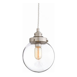 Arteriors - Reeves Nickel Pendant, Small - It's perfectly clear: This mouth-blown glass orb belongs in your favorite setting. Polished nickel hardware and a simple chain complete the cool effect.