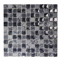 "GMC Glass Mosaic, Black - 1"" square pieces of black glass, marble can create a distinguished look to any room."