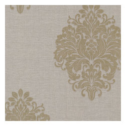 Brewster Home Fashions - Duchess Taupe Damask Wallpaper Bolt - This fine damask wallpaper is regal and chic. An esoteric taupe and brass palette is exalted by touches of shimmering metallic ink and a gentle pearl luster in the linen texture.