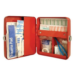 "Kikkerland - First Aid Box - Features: -Materials: painted steel with chromed latch. -First aid supplies not included. -Overall Dimensions: D 2.95"" x W 6.02"" x H 7.68""."