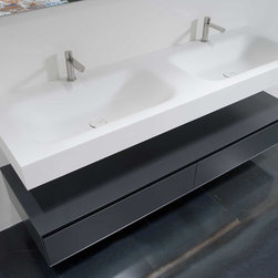 SEGNO top with integrated sink - Top with integrated sink in Corian with drain pipe fitting and plug. Single or double sink versions.