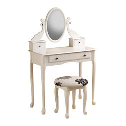 "Adarn Inc - Traditional White Vanity Set Stool Oval Swivel Mirror Dresser Make up Table - Contributing to a charming traditional atmosphere in your master bedroom or changing area, this vanity and stool set creates an organized and tranquil beauty station. Adorable details including a shaped apron, scalloped moulding and subtle cabriole legs will delight you each morning as you take a seat and get ready for your day. The oval swivel mirror tilts so you can choose your angle, while three petite drawers keep jewelry, makeup and accessories within arm's reach. Offering nostalgic elegance and simple practicality, this vanity set makes the perfect addition to your home d̩cor. Vanity:16""W x 31.5""D x 50.75""H;   Stool:16""W x 14""D x 17""H"