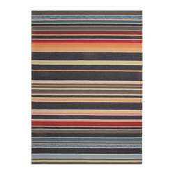 Colours Deep Charcoal1 Hand Hooked Rug 7.6' x 9.6' - Sunset shades to midnight in the colored bands of this indoor-outdoor transitional rug a cleverly-designed piece with some colors placed for maximum vibrant contrast and others paired for a nearly ombre effect that grants a pleasing trompe l'oeil regarding the width of the stripes. Made for durability and resilience in either indoor or outdoor settings, the rug is beautifully hand-looped.