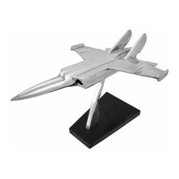 Polished Aluminum Military Fighter Jet Sculpture - This beautiful polished aluminum sculpture is a wonderful accent to your home or office. It features a military fighter jet and measures 9 inches tall, 15 inches long, and 10 inches wide. The base has foam pads on the bottom to prevent it from scratching delicate surfaces, so you can display it on tables, bookhelves, mantels, and desks. Its sleek lines and smooth finish are sure to be noticed, and it makes a great gift for aviation buffs.