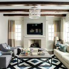 Transitional Family Room by J & J Design Group, LLC.